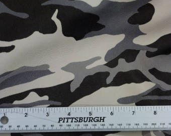 """Leather 12""""x12"""" Gray Black Off White Large PRINT CAMO Cowhide 3 oz / 1.2 mm PeggySueAlso™ E2041-01"""