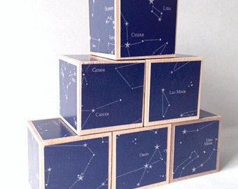 Wood blocks. Space nursery decoration. Constellation decor. Kids. Wooden block set for Baby. Eco friendly Stacking toy. children's gift.
