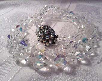 Vintage 50s Swarovski Crystal Double Strand Necklace. Sparkly!!!