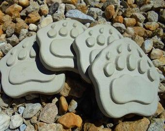 Bear Paw Coasters, Stone, Set Of Four, Cork Bottom, Hand Made, Free Shipping