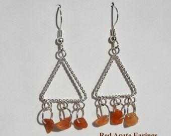 Red Agate Earings