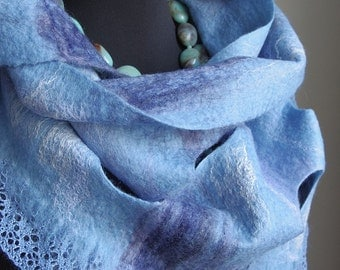 "Ice Blue"". Soft woolen wet felted scarf with lace, decorative holes and silk fibers, bright sky blue triangular bactus neck scarf"