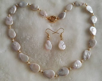 Pearl Set- white pearl necklace, baroque pearl necklace, pearl necklace & earrings set