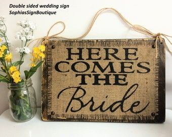 Here Comes The Bride,  second side Happily Ever After, two sided wedding sign, brown white ivory burlap twine ring bearer child wedding sign