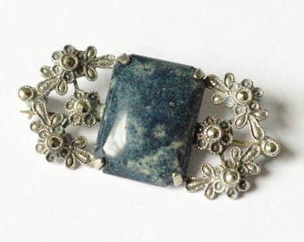 SALE Vintage Sterling Silver Art Nouveau Style Blue Jasper and Marcasite Pin