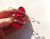 Christmas gift, statement jewelry, heart earrings, stained glass, wire jewelry, contemporary jewelry, red earrings, gift for women, Love