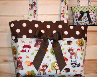 Reversible Diaper bag, handbag, purse, book bag..Woodland Animals..with name, choose end pockets and a font style. Customize.