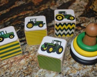 Baby Boy Gift Set Tractor Theme Blocks and Matching Mini Stacker