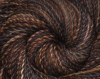 Handspun yarn - Handpainted  silk / Polwarth wool, DK weight - 320 yards - Hungry Sparrows