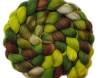 Hand painted wool roving - Superwash Merino Wool / Nylon  85/15% spinning fiber - 4.0 ounces - Lettuce Patch 2