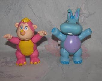 "Vintage Hasbro/Disney Wuzzles PVC Figures - Pink Rhinokey & Blue Hoppopotamus Poseables - Articulated 3.75"" Tall Toys - Paint Wear"