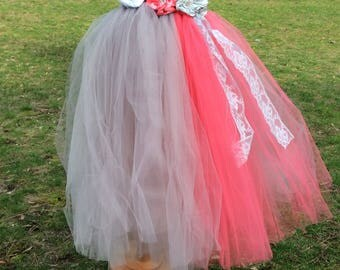Silver gray  and coral  tulle tutu dress for weddings photoprop ,flower girls,birthdays