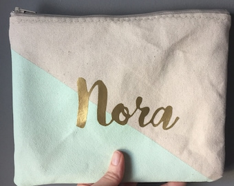 Personalized name color block Zipper Pouch Clutch Make up bag diaper bag accessory Custom colors mint green gold
