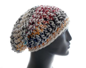 Men's Slouchy Hat, 'Hudson's Bay' Crochet Beanie, Fishnet Wool - Blend Slouchy, Medium Size