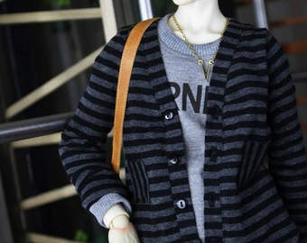 SAYOKO outfit for SD17 Boy dollfie 1/3 BJD - Knitted jacket - black+Gray (No.E487)
