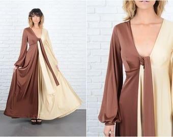 Vintage 70s Chocolate Vanilla Dress Color Block mod Full Small S 9230