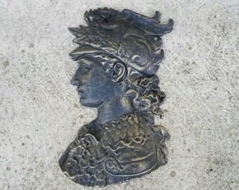 Vintage Cast Metal Roman / Greek Warrior Head Wall Hanging by Royal