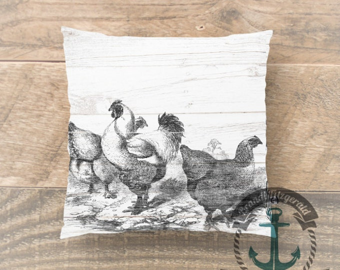 Featured listing image: Farmhouse Throw Pillow | Rustic Whitewash Americana Chickens Hens | Product Sizes and Pricing via Dropdown Menu