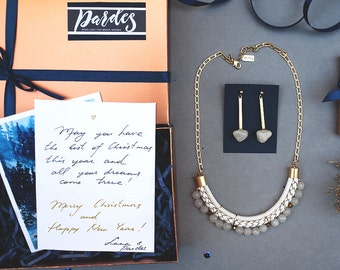 Magic BOX in WHITE necklace and earrings by Pardes