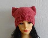 Pink Ears Cat hat Beanie Chunky Knit Winter Accessories Animals Hat cat ears hat women pussyhat Raspberry Pink Knit cat Hat  Pink Cat Hat