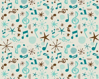 Blue & Brown Music Notes from Blend Fabric's Folk Melody Collection by Michael Korfhage
