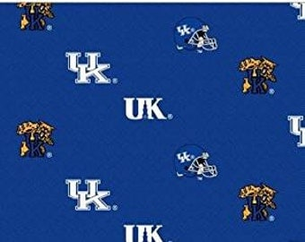 University of Kentucky Football Helmets and Mascot Print Fabric