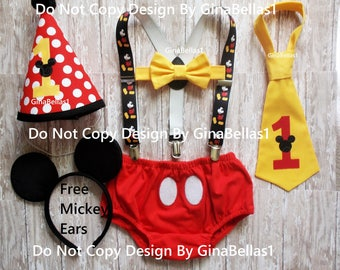 Mickey Mouse Birthday outfit cake smash costume MM suspenders baby FREE EARS diaper cover bowtie or I am one tie Red Hat 9 12 18 24 toddler