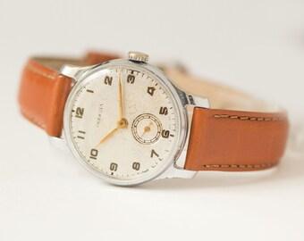 Classical men's watch Pobeda\Victory, men's wristwatch mid century, minimalist timepiece him gift, dress watch, new premium leather strap