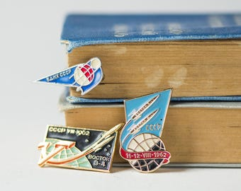 Soviet space badges, set of 3 spaceflight missions Vostok 3 and 4 badges, satellite lapel pin, enamel pins 60s, cosmonauts badges
