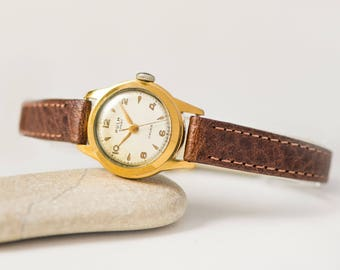 Retro women's watch KULM Sport, gold plated women's watch Swiss, classical lady watch, small girl's watch gift, new premium leather strap