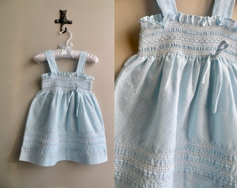 70s Baby Girl Blue Smocked Polka Dot Sun Dress - 18 m