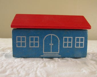 Vintage Painted Wood School House/Blue and Red Colors/Pretend Play/Small Village Building/Back to School/Photo Prop/Wood Toy Collectible