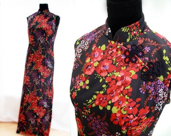 Long Maxi Oriental Floral Cheongsam Inspired Dress. Vintage. 1990's.