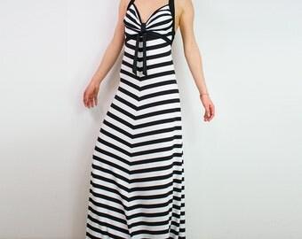 Backless maxi dress/ Backless sundress/ Kaftan dress/ Long striped dress/ Open back dress/ Convertible dress/ Beach tunic dress SANI