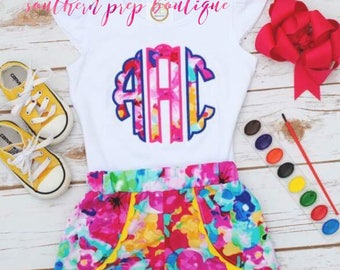 Watercolor Applique Summer shirt - M2M Applique Design - Summer Applique shirt - Shorts not included