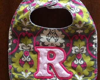 Personalized baby bib, baby accessories, custom bibs, baby, girl bib, baby shower, new baby, one letter