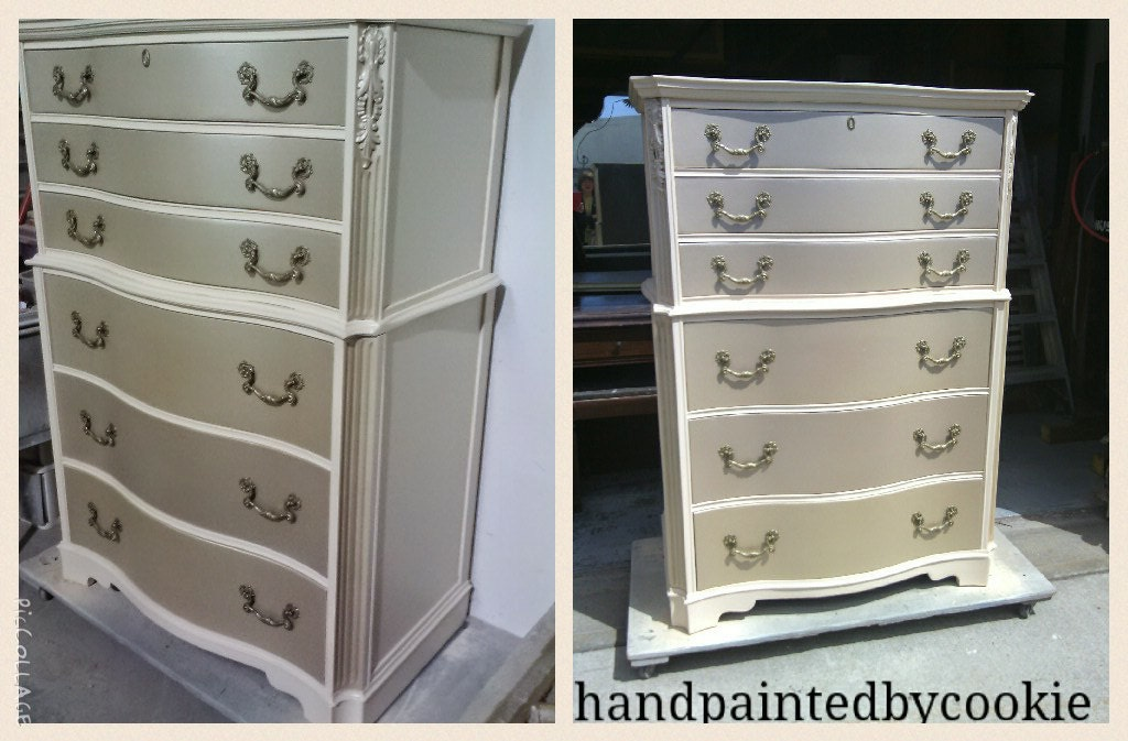 Silver Painted Furniture. Dresser With Metallic And Antique White, Custom Painted  Silver Furniture