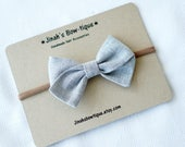 Grey Linen Hand Folded Bow Headband Nylon Skinny Headband