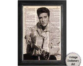 Young Elvis Presley with Guitar Print on Upcycled Vintage Dictionary Paper - 8x10.5