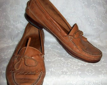 Vintage Men's Brown Leather Slip On Loafers Boat Deck Shoes by Florsheim Size 10 1/2 Only 12 USD