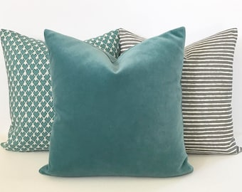 Teal velvet solid decorative pillow cover