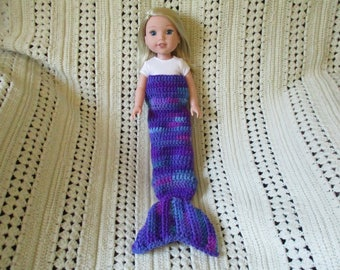 "Mermaid tail blanket blue purple multicolor Hand-crocheted to fit 14.5"" Wellie Wishers Dolls"