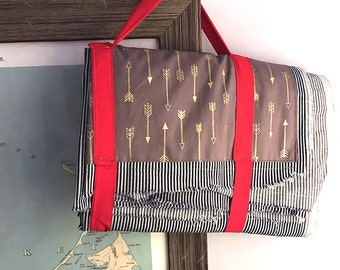 Picnic Blanket Cotton Denim Engineer Stripe with Gold Arrows Pocket and Red Carry Ties