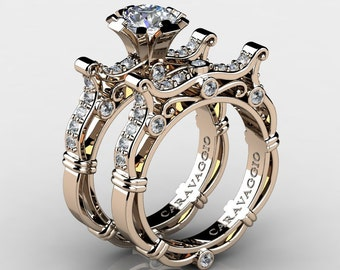 Caravaggio Venetian 14K Rose Gold 1.0 Ct White Sapphire White Diamond Engagement Ring Wedding Band Set R638S-14KRGDWS