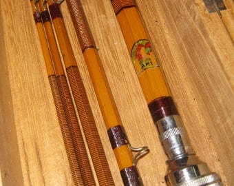 Japan Split Bamboo 3pc With Wood Case / Nikko Fly Reel collectible