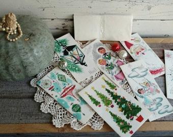 Kitsch Retro Christmas Card Assortment - 7 Whimsical Christmas Cards + Envelopes, Vintage Nativity/Tree/Ornament, Mid Century Christmas Card