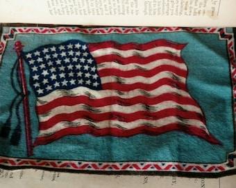 Antique American Flag Tobacco Silk From Nebo Cigarettes - Vintage Collectible + Historical Patriotic Memorabilia, Tobacco Advertising Arts