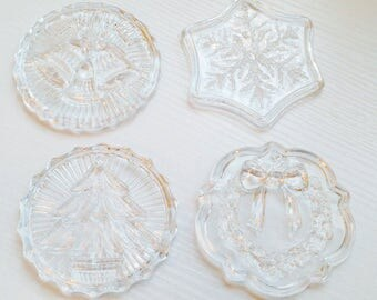 Set of 4 Heavy Pressed Glass  Disk Christmas Ornaments