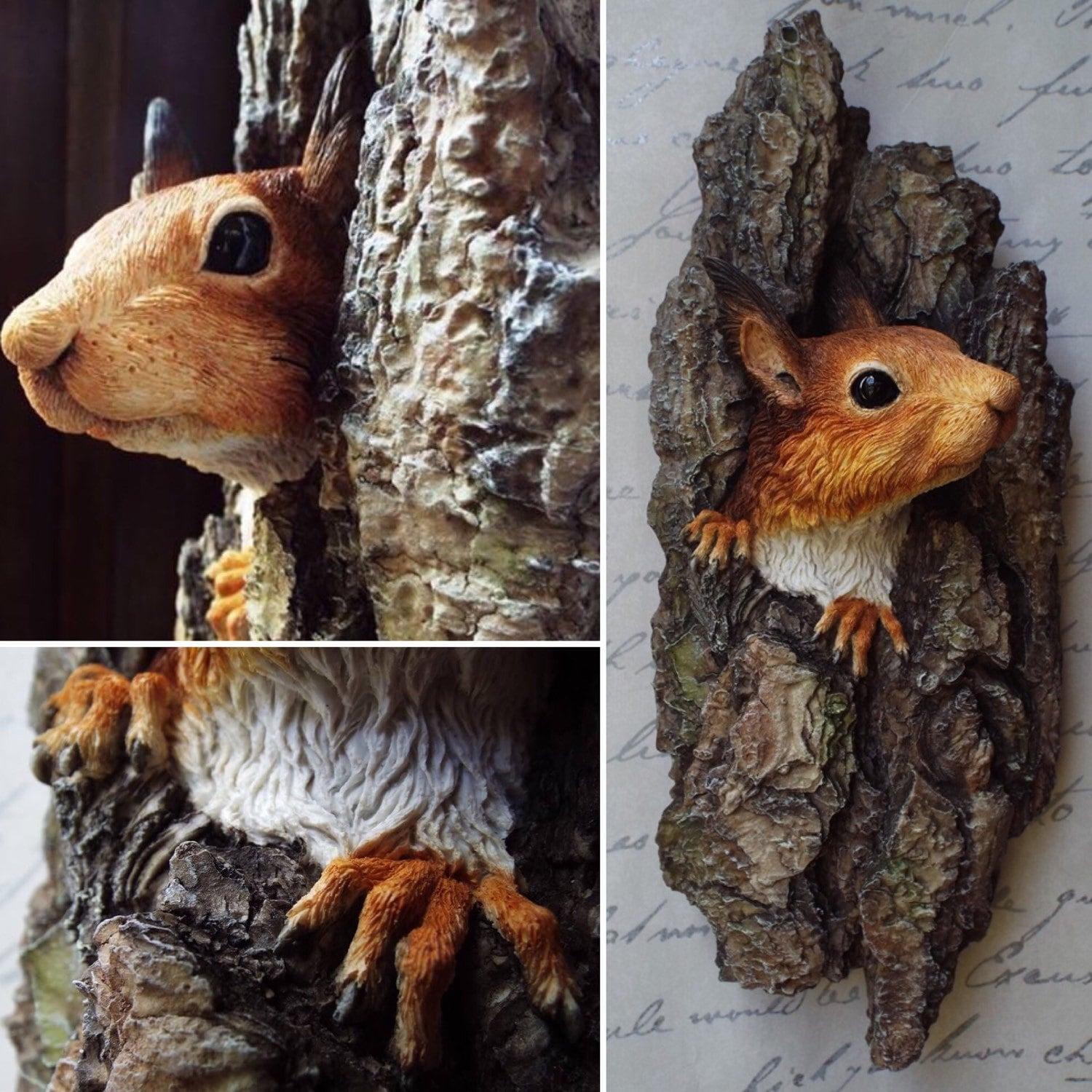 red squirrel wall sculpture wall plaque realistic squirrel
