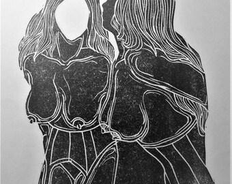 """inspiration erotique vintage linogravure imprimé à l'encre à l'huile  sur papier de riz """" Blanche"""""""